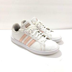 Adidas 9 advantage light pink stripes sneakers